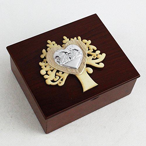 Dlm26682 scatola portagioie in legno albero della vita cuore e coppia angeli bomboniera