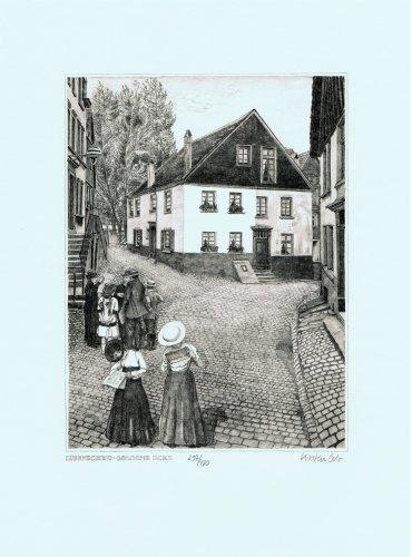 Lüdenscheid Goldene Ecke, Leinwanddruck, Kunstgrafik, Radierung, Kunstdruck (Bilder Radierung,)
