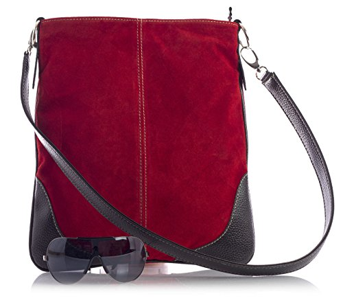 Big Handbag Shop - Borsa a tracolla da donna, stile messenger, in vera pelle scamosciata italiana, sintetica, con finte cuciture Light Purple (JM677)