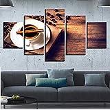 rkmaster-Leinwand Wandkunst Poster Küche Wohnkultur 5 Stücke Kaffeebohne Malerei Hd Print Kaffeetasse Bild Modulare Restaurant30 cm * 40 cm * 2 30 cm * 60 cm * 2 30 cm * 80 cm * 1 Kein Rahmen