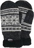 Gestrickter Fäustling mit Norweger Muster Thinsulate für Herren, Farben:grau mit dunkelgrau, Handschuhgröße:L/XL