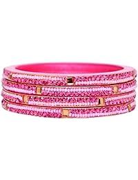 Dulari Round & Square Stone Embellished Lac Round Ethnic Bangles For Women (Set Of 4 Bangles) Colors Available