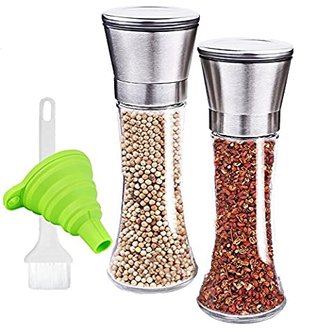 Salt and Pepper Grinder, LOXVAO Adjustable Coarseness Salt and Pepper Mill Set of 2 with Stainless Steel Top & Ceramic Rotor Manual Clear Salt and Pepper Shakers Cleaning Brush