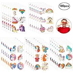 ZoomSky 180pcs tatuajes unicornio temporales de tatuajes niñas de cumpleaños de fiesta del regalo para fiesta de bolso de navidad de relleno de calcetines