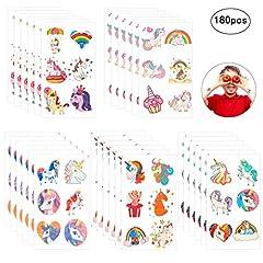 Idea Regalo - ZoomSky 180 PCS (30 Fogli) Tatuaggi temporanei Tatoo Unicorno Assortimento di Adesivi temporanei per Bambini Ragazzi per Feste di Compleanno Bomboniere rifornimenti (Unicorno)