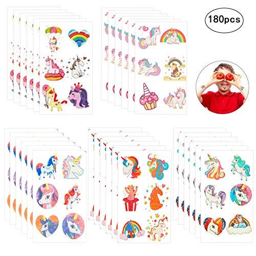 Zoomsky 180 pcs (30 fogli) tatuaggi temporanei tatoo unicorno assortimento di adesivi temporanei per bambini ragazzi per feste di compleanno bomboniere rifornimenti (unicorno)