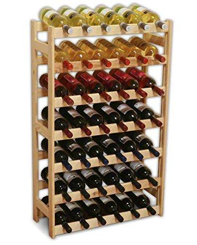 MODO24 Weinregal, Holz, unbehandelt, 63 x 25 x 102 cm, 17-Einheiten - Stapelbare Wein-keller