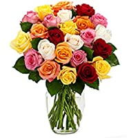Floral Fantasy Fresh Flower Bouquet (Bunch Of 30 Mix Roses in Glass Vase)