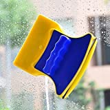 ShopTimes Magnetic Window Cleaner Double-Side Glazed Two Sided Glass Cleaner Wiper with 2 Extra Cleaning Cotton Cleaner Squee