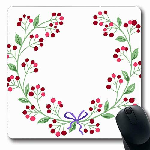 Luancrop Mousepad für Computer Notebook Rot Grün Floral Niedliche Retro Blumen arrangiert blühende Vintage Pink Berry Geburtstag Kreis Datum Design rutschfeste Gaming Mouse Pad (Kreis Datum)