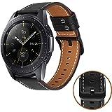 MroTech Compatible Bracelet pour Samsung Galaxy Watch 42mm/ Galaxy Watch Active/Huawei Watch 2/ Gear S2 Classic 20mm Bracelet de Montre en Cuir véritable Remplacement pour Garmin Vivoactive 3, Noir