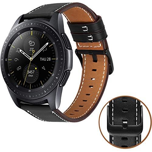 MroTech Lederarmband Galaxy Watch 42mm Armband Galaxy Active 40mm echtes Leder Uhrenarmband 20mm Ersatzband kompatible Gear S2 Classic,TicWatch E, Vívoactive 3 20 mm -Schwarz