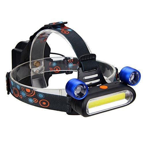 LED Stirnlampe LED Kopflampe Zoomable 2000 Lumen Einstellbare Helligkeit 3 X COB LED-Scheinwerfer Wiederaufladbare 3-Modus-Outdoor-Camping-Leuchten für Scheinwerfer Outdoor-Wandern Stirnlampen
