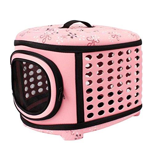 Boodtag Tragetasche Faltbar Hund Katze Umhängetasche für Transportieren Kleintiere Tasche Mesh atmungsaktiv Perfekt für Reisen mit dem Flugzeug oder mit dem Auto (Rosa)