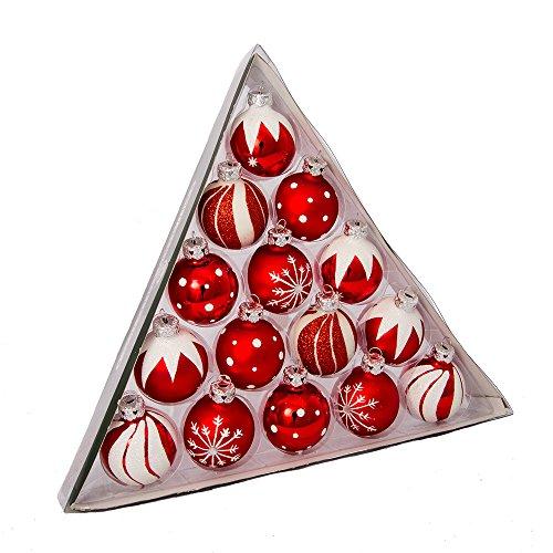 Kurt Adler 1.57-inch rot/weiß verziert Glas Ball Ornament Set von 15 - Kurt Adler Christmas Lights