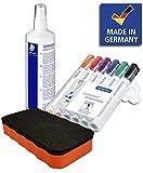 Staedtler Lumocolor 351 B WP6 Whiteboard-Marker, Keilspitze, ca. 2 oder 5 mm Linienbreite, Set mit 6 Farben in Aufstellbox (inkl. Reinigungsspray + Löscher orange)