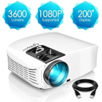 ELEPHAS Projector, 3600 Lumens HD Video Projector 200'' Home Cinema LCD Movie Projector Support 1080P HDMI Vga Av USB Ideal For Home Entertainment Party Games, White