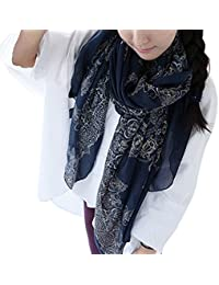 ISASSY Echarpe Femme Foulard Pashmina Châle Coton Vintage Fleurs