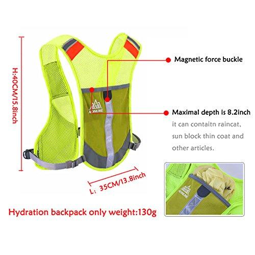 Geila Outdoor Sport Marathon Race Hydratation Hydratation Weste Rucksack mit 2 Trinkflaschen für Trailrunning, Marathon Blau