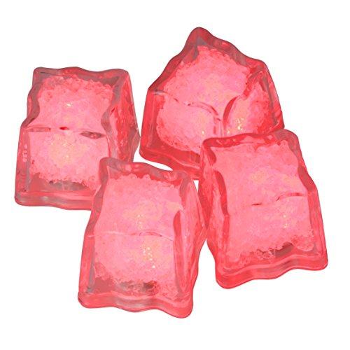 Eiswürfel leuchtend blinkend im 4er Set rot Party Licht Kunststoff Würfel wasserdicht mit Batterie ()