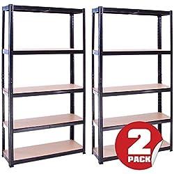 G-Rack Rangement pour Garage (2 Unités), 180cm x 90cm x 30cm (Noir) - 5 Niveaux, Capacité de 875kg (175kg par Étagère) - très résistant, Charge Lourde
