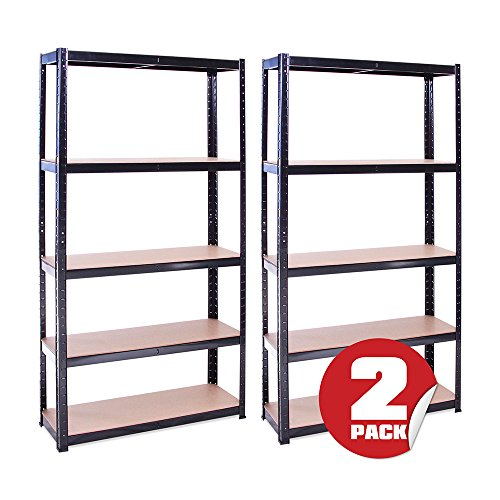 Price comparison product image 2 Bay 180cm x 90cm x 30cm,  Black 5 Tier (175KG Per Shelf),  875KG Capacity Garage Shed Storage Shelving Units,  5 Year Warranty