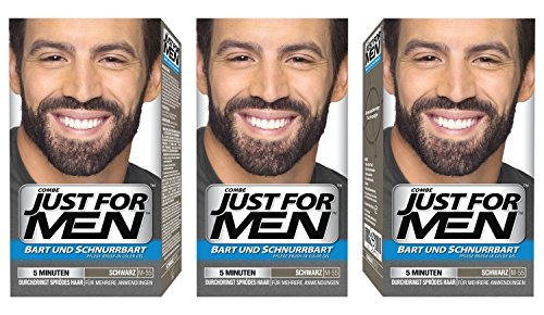 Just For Men - Tinte de barba y bigote para hombre, color negro natural (M55), 3/ paquete