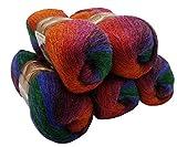 5 x 100 g Alize Glitzerwolle mehrfarbig mit Farbverlauf und Glitzer, 500 Gramm Metallic - Wolle mit 20% Woll-Anteil (terrakotta blau grün u.a. 4343)