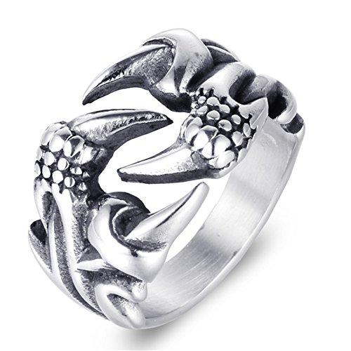 Beydodo Schmuck Edelstahl Männer Ring Drachen Kralle Freundschaftsringe Silber Ring Herren Gr.57 ()