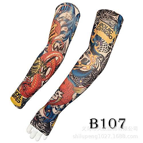 tzxdbh Tatuaggio Manica del Ghiaccio Estate Protezione Solare di Alta qualità Reale Seta del Ghiaccio Ombra Manica Tatuaggio B107 ha Una Circonferenza del Braccio Dito di 17-50 cm Disponibile