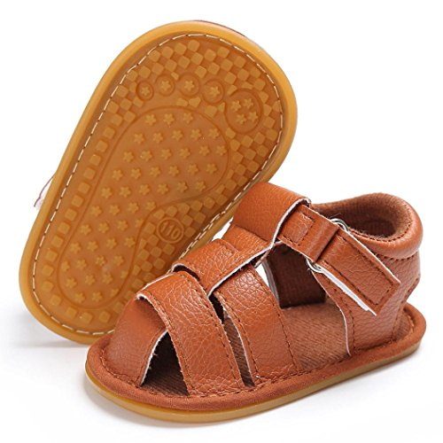 Per 0~18mesi,Amlaiworld Baby boys carino presepe scarpe anti-scivolo Suola morbida Sandali Marrone