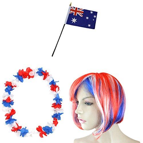 Sonia Originelli Fan-Paket-4 WM Fußball Kurzhaar Perücke Hawaiikette Flagge Party Farbe Australien