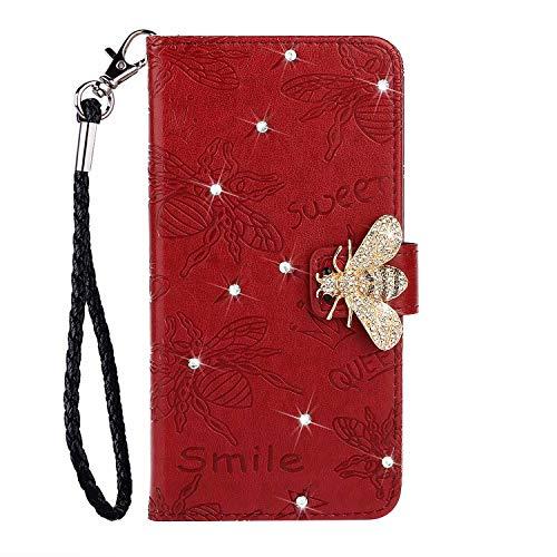 Veapero Hülle für Huawei P30 Pro Handyhülle Schutzhülle Hülle Biene Diamant Leder Wallet Case Tasche PU Handyschale Brieftasche Flipcase Geldbörsen Kartenfach Stand Magnetische,Rot