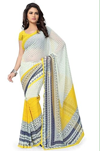Saree(Women`s georgette saree with blouse piece-yellow white color)  available at amazon for Rs.229