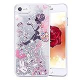 Coque iPhone 7, iPhone 7Coque liquide, Phezen 3d Creative mignon Dessin animé Dauphin Pingouin Fleur Fée Imprimé Fluide liquide flottant Bling Paillettes étoiles Coque rigide pour iPhone 7 Glitter #11