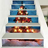 Mitlfuny Weihnachten DIY Home Decor 2019,Weihnachten 3D Simulation Treppe Aufkleber Wasserdichte Wandaufkleber DIY Home Decor