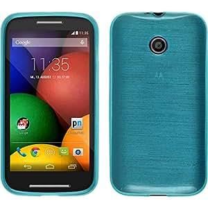 Coque en Silicone pour Motorola Moto E - brushed bleu - Cover PhoneNatic Cubierta + films de protection