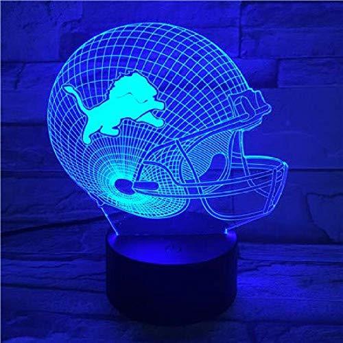 American Football Team Detroit Lions Helm USB3DLED Nachtlicht Lampara Jungen Kinder Fans Geschenk Schreibtischlampe Schlafzimmer Nachtlicht