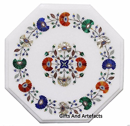 Gifts And Artefacts 35,6 cm Octagon weiß Marmor Couchtisch Top Multi Farbe Stein Flower Art -