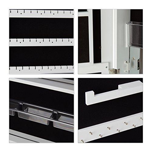 Relaxdays Schmuckschrank mit Spiegel abschließbar, Spiegelschrank groß hängend für Tür, HxBxT: 120 x 38,5 x 10 cm, weiß - 8