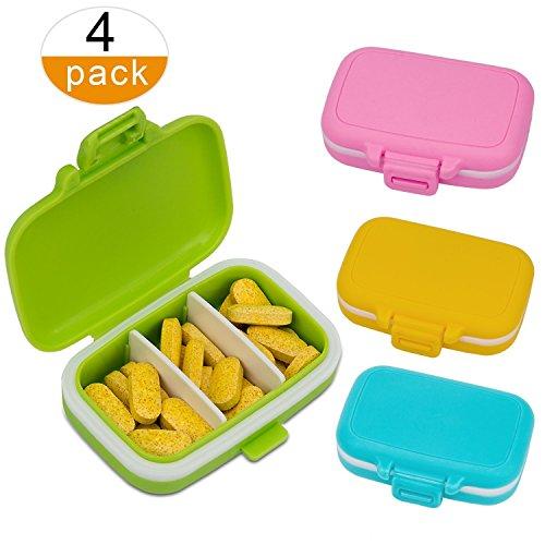 AIEX Tablettenbox Pillendose Wasserdichter Pillenbox Tablettendose mit 3 Fächern, für Reise und täglichen Gebrauch (4pcs)