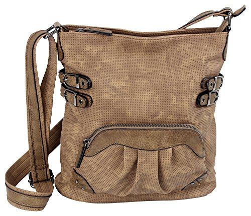 Jennifer Jones Taschen Damen Damentasche Handtasche Schultertasche Umhängetasche Tasche klein Crossbody Bag hellgrau / jeans-blau (3119) (braun) (Denim Tasche Seitliche)