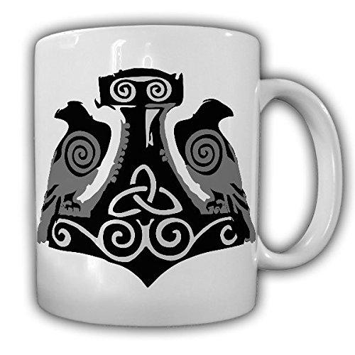 Wikinger Raben Hugin und Munin Thors Hammer Odin Runen Rabe Nordmann Heide Germane - Tasse Kaffee Becher #18153