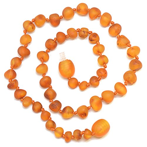 Genuine Baltic Amber Necklace - Raw not polished Beads - Cognac color - Knotted between beads - 32cm long