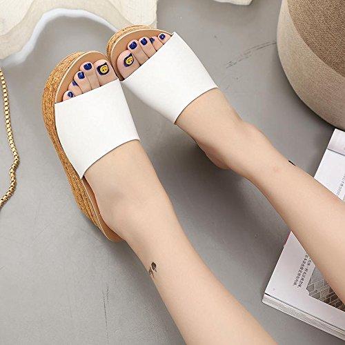 LvYuan Frauen Sommer Hausschuhe / Komfort Casual Fashion / Wedge Ferse / dicken Boden / wasserdichte Plattform / flatforms / Sandalen / sexy Strand Schuhe Weiß