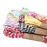 Raffia Stripes Twisted Paper String cords for DIY Craft Making (60 Meters - 6 Different Colors) Raffia Craft, Gift Wrapping, Twine Rope Thread Scrapbooks, and Invitation Flower Decoration ETC… Colors - Black, Yellow, Orange, Red Wine, Maroon, Peach or Pink