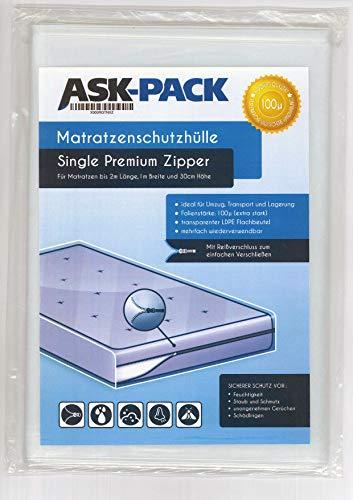 ASK Pack Premium Matratzenschutzhülle Single mit REIßVERSCHLUSS für bis zu 100cm breite / 30cm hohe / 200cm Lange Matratze - EXTRA stark 100µ