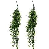 Albeey 2 Stück Kunstpflanze Künstliche Weinrebe Blätter Wand hängende Pflanze Dekoration (Grün)