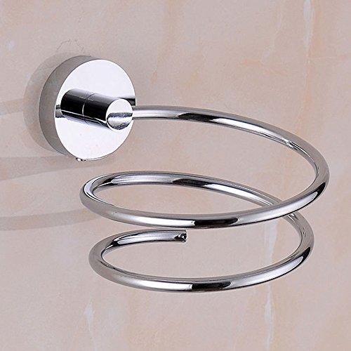 Soporte de secador pelo de Acero Inoxidable,ideal para el baño, incluye un gancho de pared para el enchufe