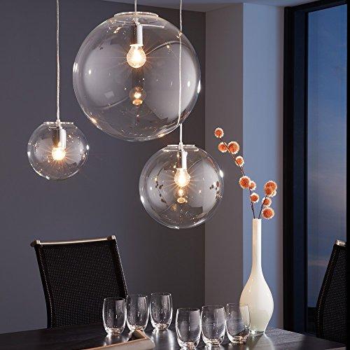 s.LUCE Pendelleuchte Orb Ø 20 cm Klar Pendellampe Glaskugel Glas Hängeleuchte Glas-Hängelelampe elegant und klassisch Mundgeblasen -